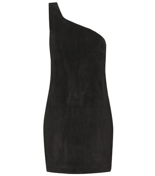 Saint Laurent Suede one-shoulder minidress in black