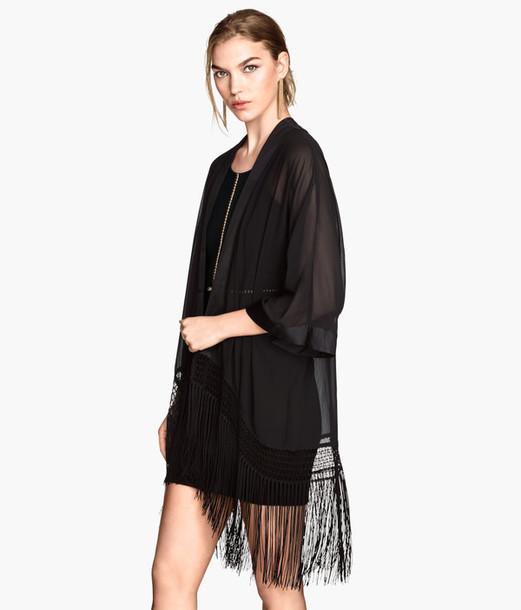 cardigan, h&m, black, black kimono, black fringes, fringes ...