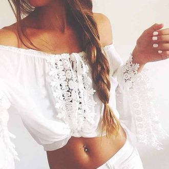 off the shoulder lace top long sleeves crop tops white pants blouse white short lace crop shirt hobo chic white shirt h&m zara zara top off the shoulder top white top peasant top