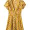 'arya' yellow floral v-neck flare dress