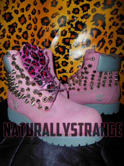 shoes boots leopard print spikes timberlands leopard timberlands bootiesd spike timberlands spiked timbs spiked timberlands pink timberlands]