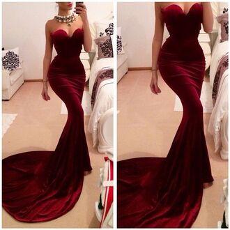 dress burgundy red velvet velvet dress prom tight hot sexy prom dress