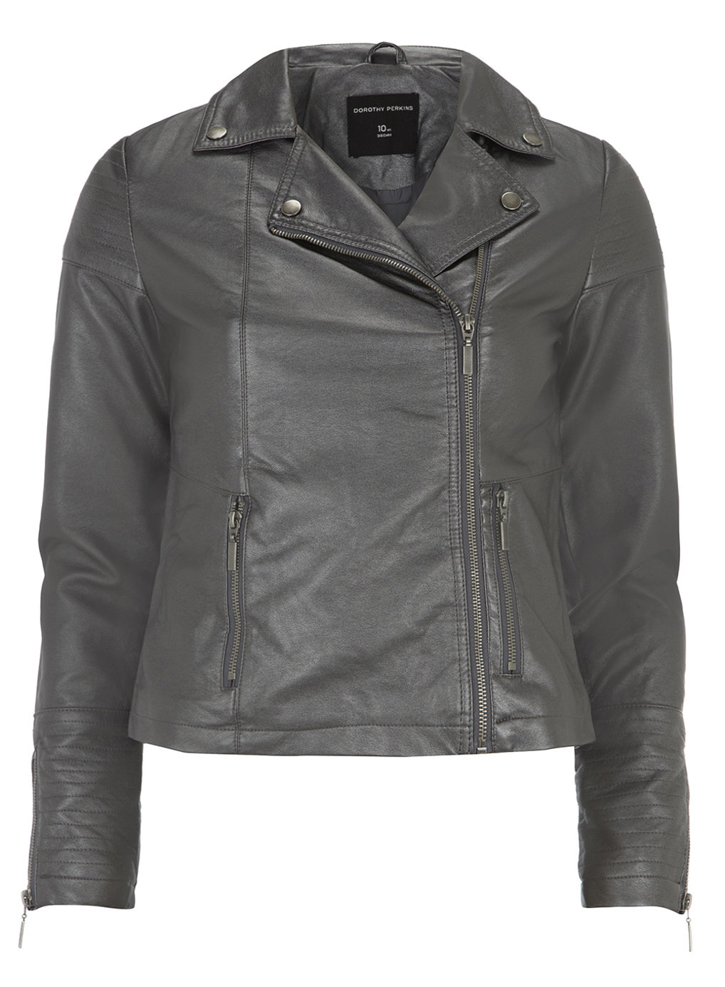 Pewter metallic stitch biker jacket