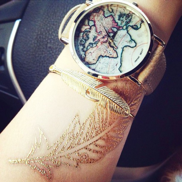 jewels clock world map gold jewelry globe hair accessory