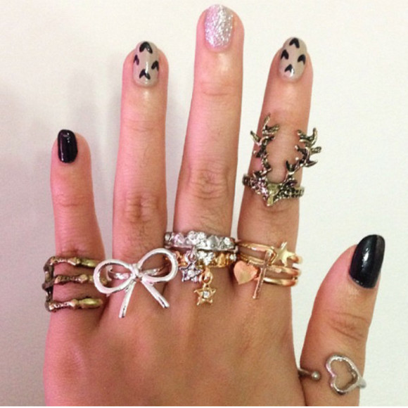 deer jewels ring bows gold silver