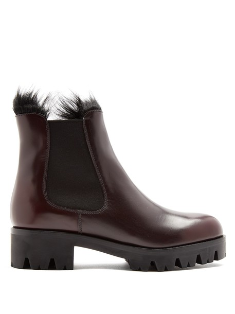 Prada leather ankle boots fur ankle boots leather burgundy shoes