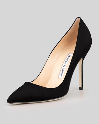 Manolo Blahnik BB Suede 105mm Pump, Black (Made to Order) - Neiman Marcus