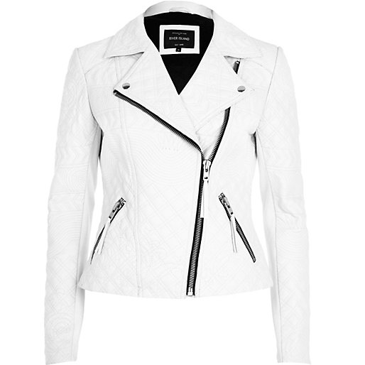 White Embossed Leather Jacket Leather Leather Look