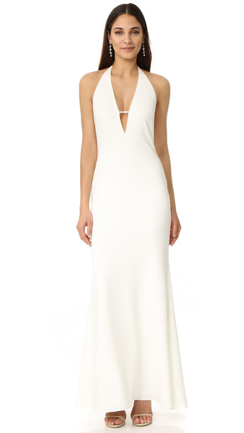 Badgley Mischka Collection Plunge V Neck Dress - Ivory