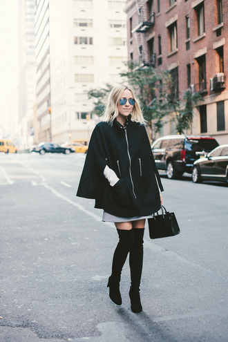 damsel in dior blogger top bag thigh highs fall outfits cape