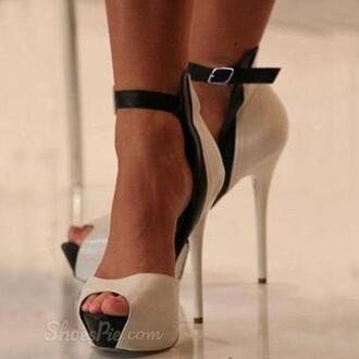 shoes high heels heels stilettos peep toe heels peep toe peep toe ankle strap open toes open toe open toe high heels open toe heels white and black heels black and white black and white heels