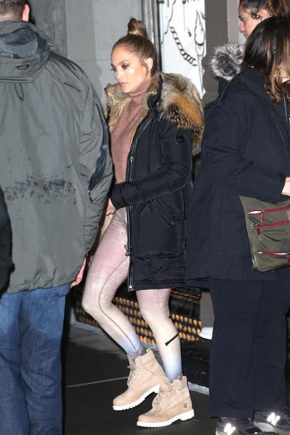 leggings jacket winter jacket parka jennifer lopez celebrity