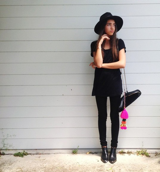 hat black hat tumblr girl