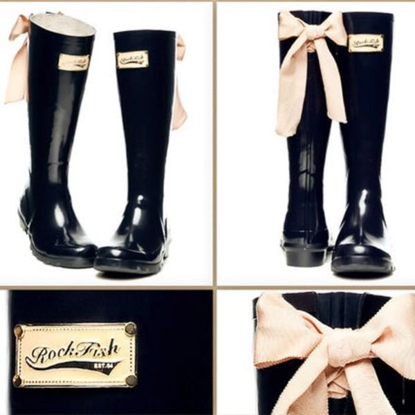 shoes rockfish bow rainboots wellies black rockfish rubber boots boots rain pink bow back wellies