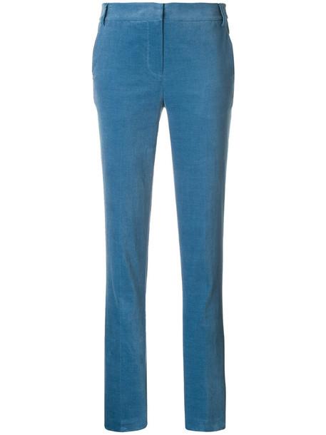 Tibi - velvet straight-leg trousers - women - Cotton/Spandex/Elastane - 2, Blue, Cotton/Spandex/Elastane