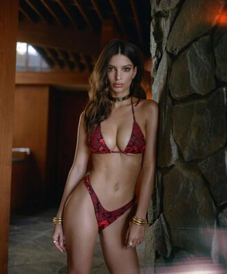 swimwear bikini bikini bottoms bikini top emily ratajkowski model editorial choker necklace summer animal print