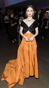 skirt,orange,mustard,crop tops,top,lily collins,long dress,gown,prom dress