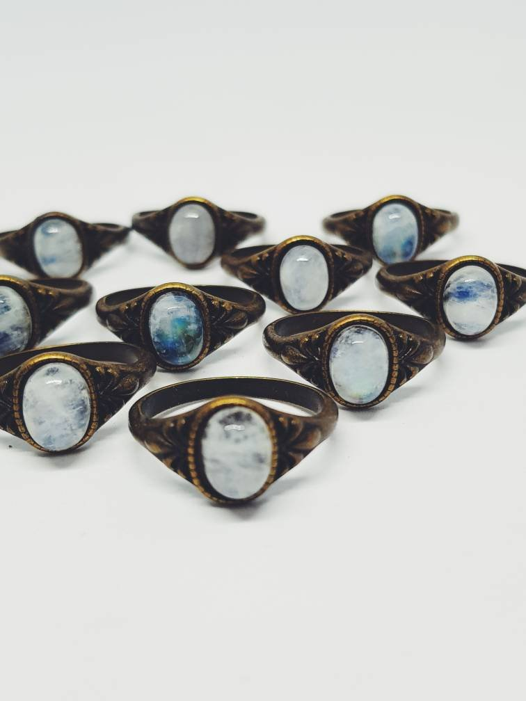 Moonstone on Bronze - Oval shaped gemstone on bronze detailed ring