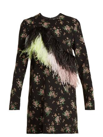 dress embellished floral print black