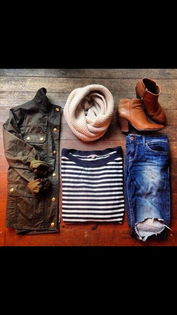 jacket button jacket shoes tan wedge boots shirt scarf jeans