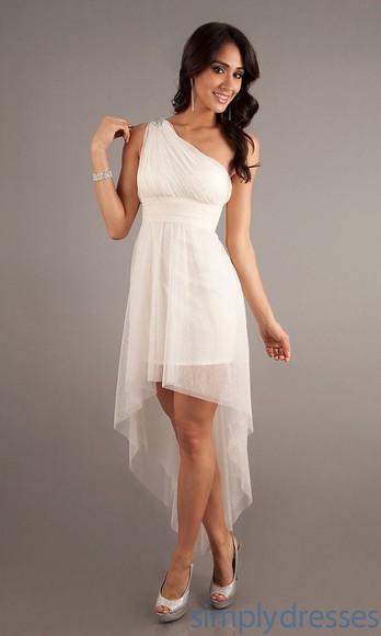 white dress one shoulder high-low dresses bridesmaid dresses