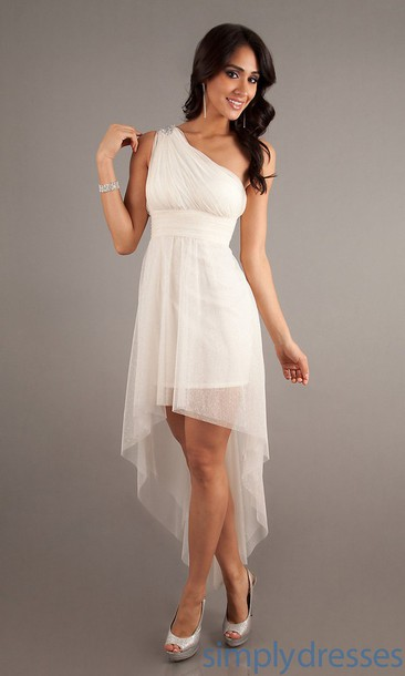 Dress white dress one shoulder high low dresses for White high low wedding dress