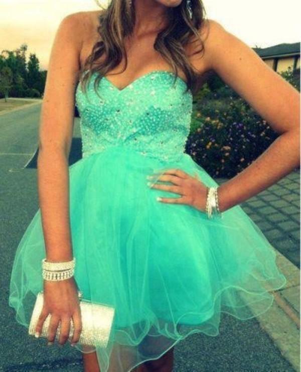 dress turqoise prom sexy dress diamonds