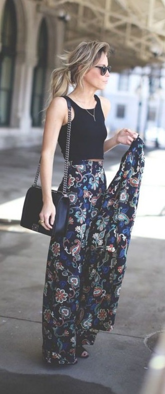 pants floral dark blue flare paisley high waisted jeans