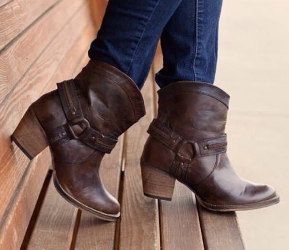 brown shoes ankle boots country cowgirl