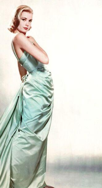 dress grace kelly blue dress maxi dress prom dress elegant dress blonde hair actress