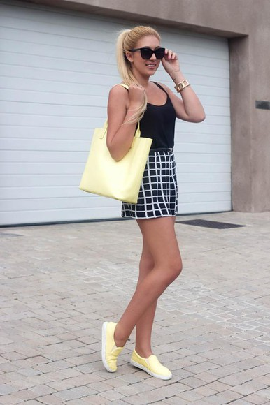 yellow superficial girls blogger jewels bag checkered