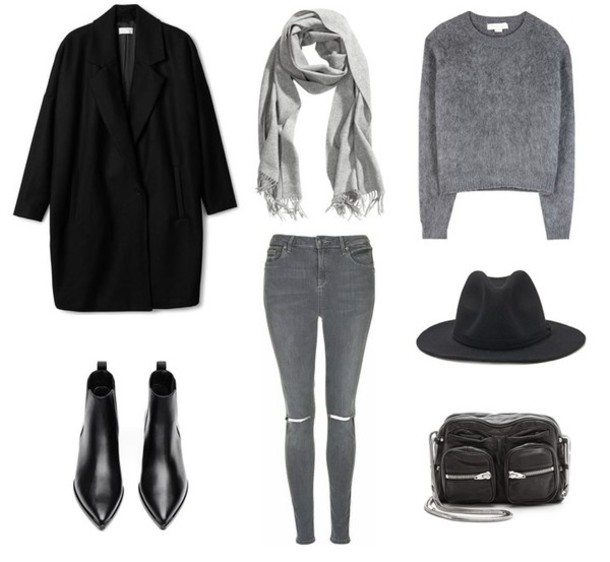 jestem kasia blogger grey jeans ripped jeans fedora grey sweater black coat boho chic pointed toe chelsea boots coat jeans sweater bag scarf shoes hat