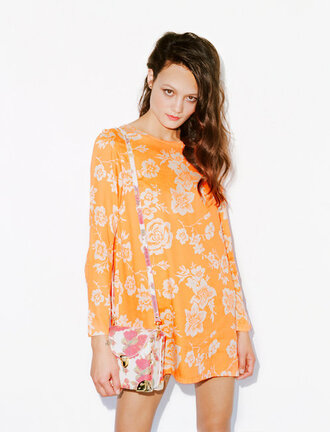 dress orange floral white flowers orange and white shift dress long sleeves pastel