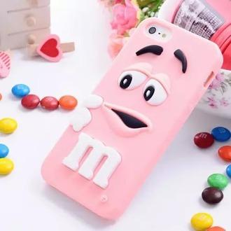 phone cover m&m pink cute phone case candy 3d