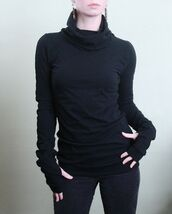 shirt,top,sweater,long sleeves,black,turtleneck,cowl neck,thumb holes,extra long sleeve,form fitting