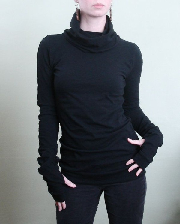 shirt top sweater long sleeves black turtleneck cowl neck thumb holes extra long sleeve form fitting
