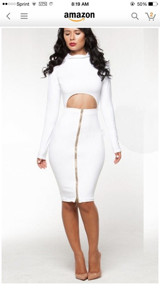 dress white clubwear zip midi bodycon dress