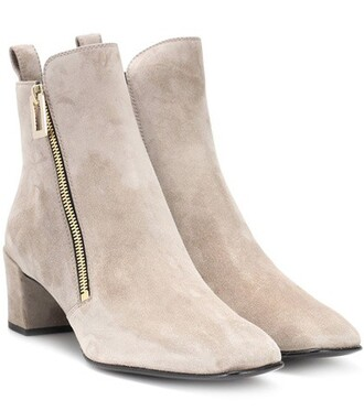 suede ankle boots zip boots ankle boots suede beige shoes