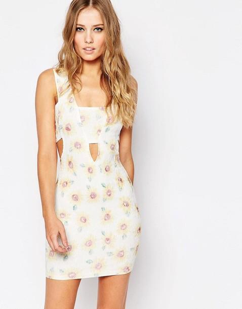 dress sunflower floral dress summer dress keyhole dress
