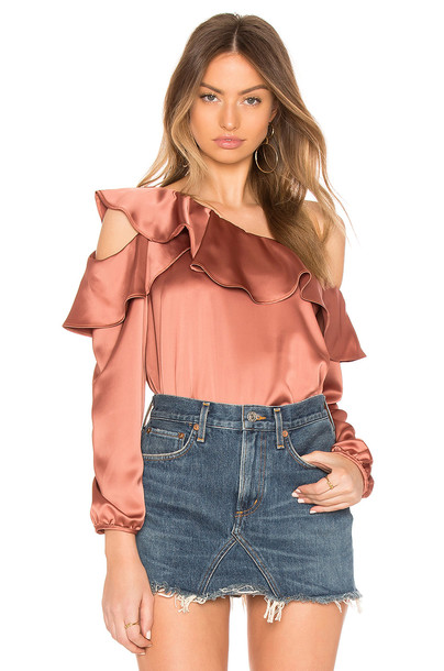 Krisa top satin metallic copper