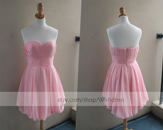 Handmade Pink Knee Length Bridesmaid Dress/ Cocktail by Wishdress