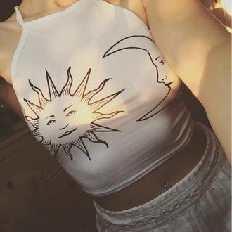 shirt white shirt moon and sun halter top