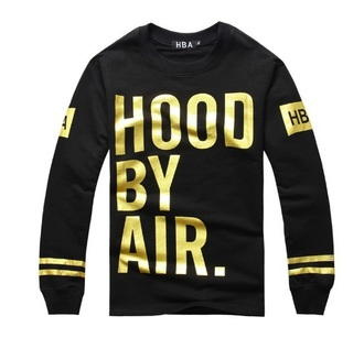 sweater hoodie hood by air swag black gold