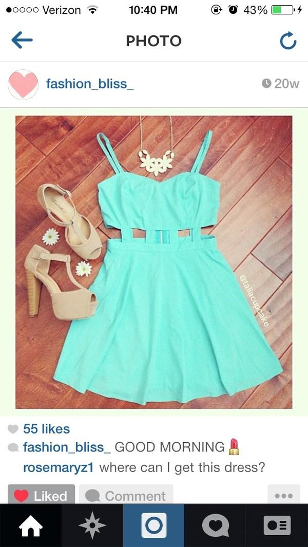 dress blue dress blue turquoise cut-out shoes
