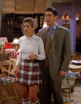 skirt rachel green checkered checkered skirt pleated kilt tartan kilt high waisted friends vintage dress plaid skirt friends tv show jennifer aniston
