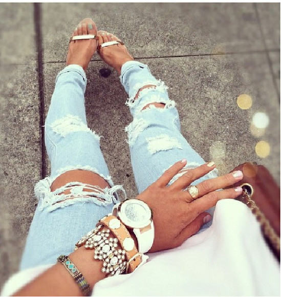 jeans denim ripped jeans skinny jeans shoes bag blue light wash