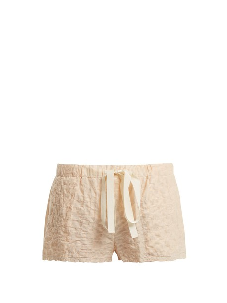 LOUP CHARMANT Drawstring-waist striped cotton shorts in orange