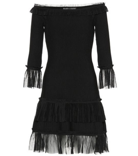 Jonathan Simkhai Ruffled off-the-shoulder dress in black