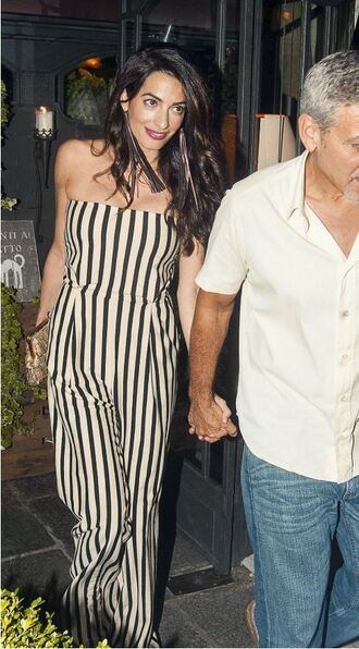 jumpsuit stripes striped pants amal clooney strapless