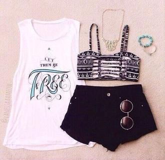 white tank top shirt crop tops sunglasses tribal pattern black shorts split back shorts black crop too top